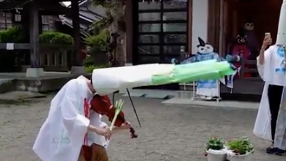 Японский священник ради паствы переодевается в зеленый лук